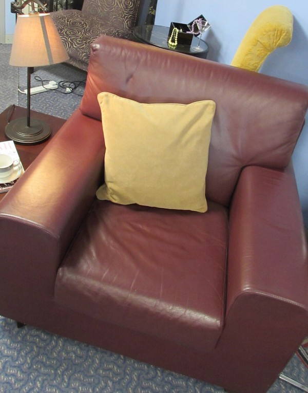 Burgundy Leather Easy Chair