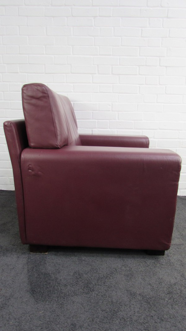 Burgundy Leather Chunky Easy Chairs