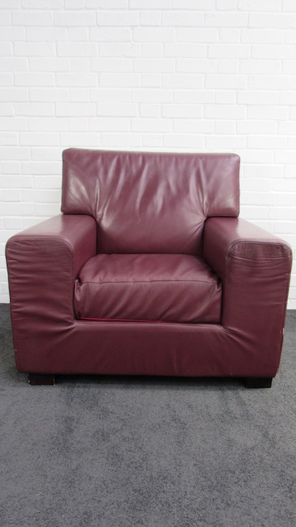 Burgundy Leather Easy Chairs