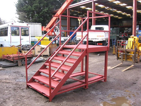 Industrial Steel Staircase with 4ft Square Landing