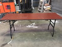 6Ft Wooden Trestle Tables With Foldable Legs