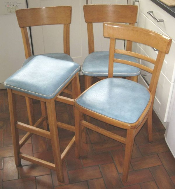 1950's Vintage Beechwood & Vinyl 3 Chairs and a Stool