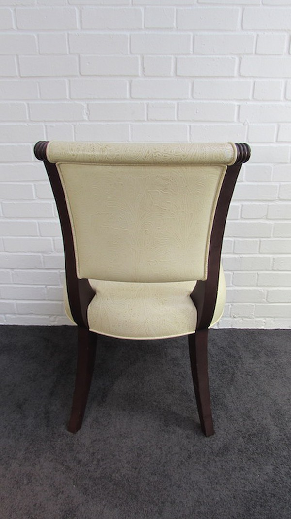 Cream Leather Patterned Side Chairs