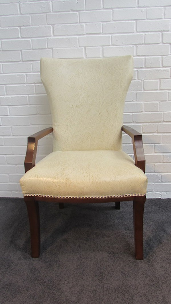 Cream Patterned Leather Arm Chair