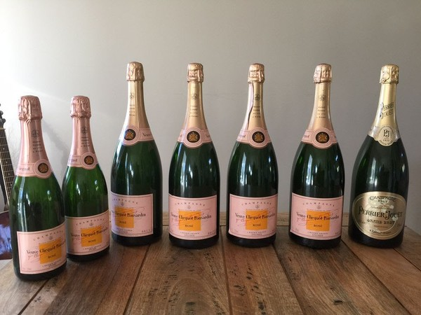 Veuve Clicquot Champagne buckets. Magnum display bottles, Hennesey whiskey glasses