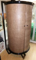 2 Cylinder Shaped Cupboards in Faux (PVC) Crocodile Skin Pattern
