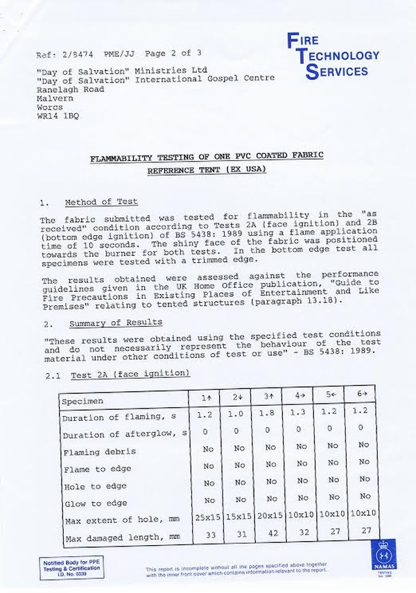 Flammability test results