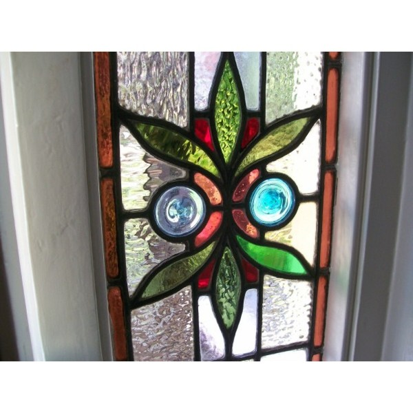 Victorian Edwardian Stained glass door with surrounding transome