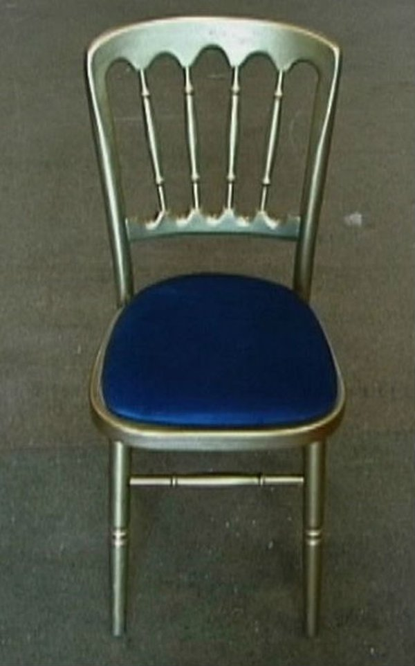 Gilt Banquet Chair with blue seat pad