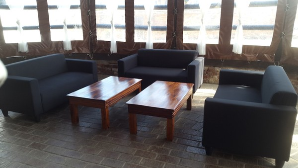 Black sofa and coffee table