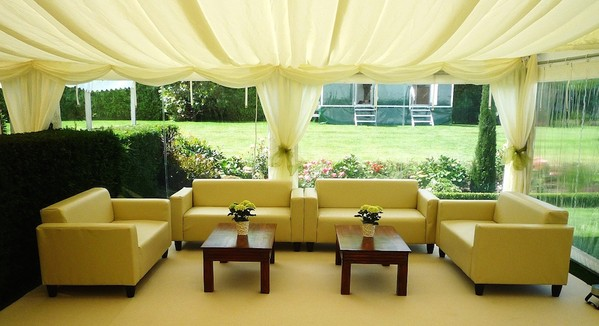 Marquee sofa and coffee tables
