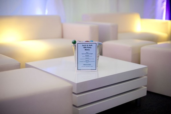 White sofa for exhibition stands