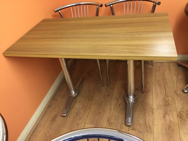 12x Chrome / Teak MDF Laminated Tables