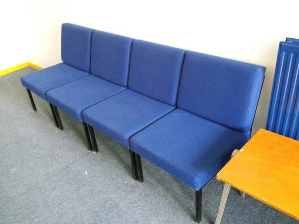 Blue waiting room chairs