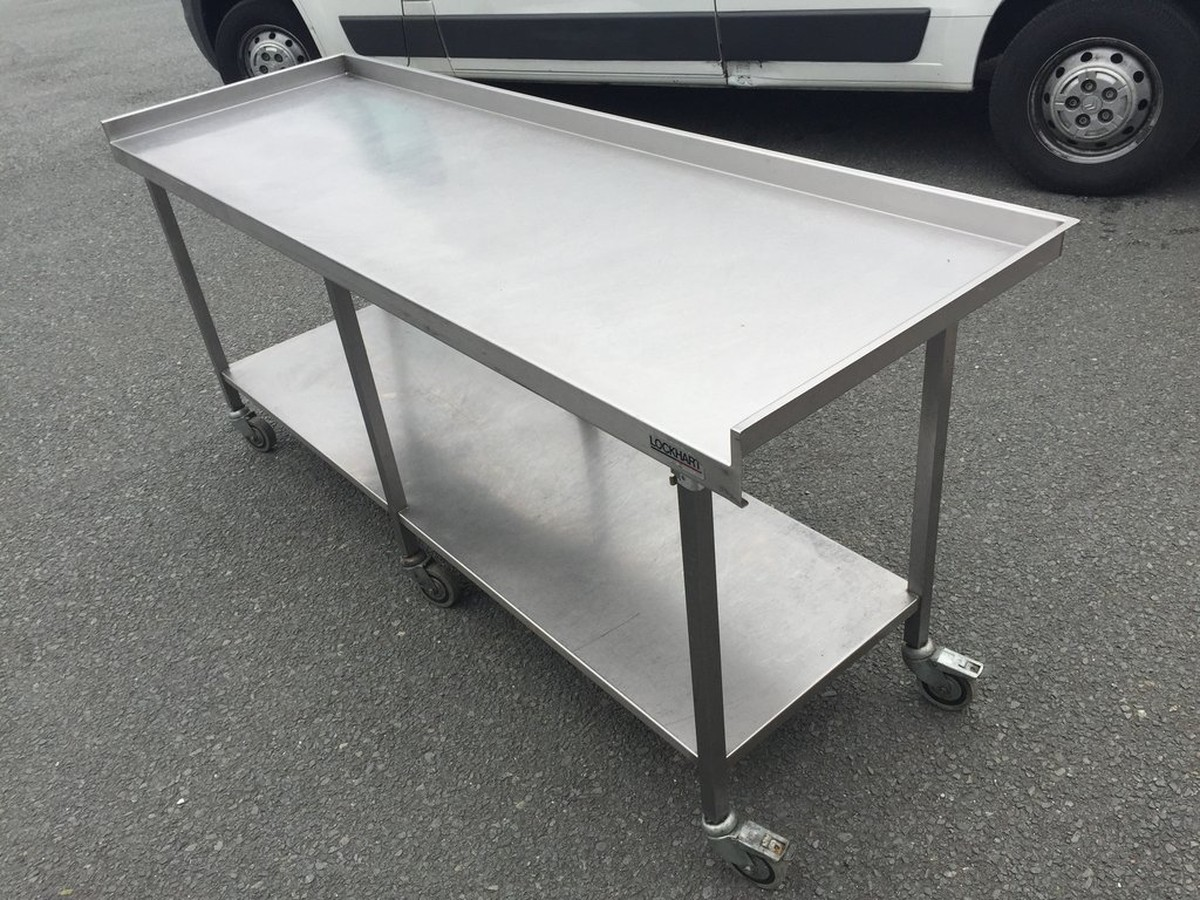 Stainless Steel Prep Table C/w Wheels ...