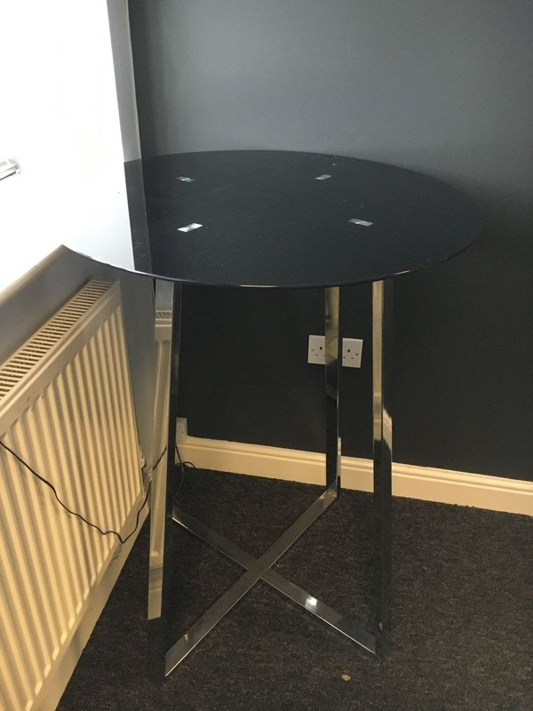 Black Glass and Chrome Poseur Table