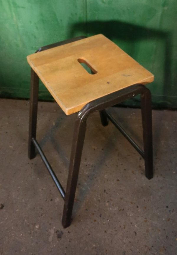 Stools Pressed and Tubular Steel With Wood Seat