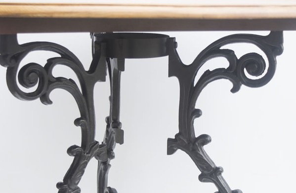 Solid Wood Tables with Traditional Decorative Cast Iron Bases