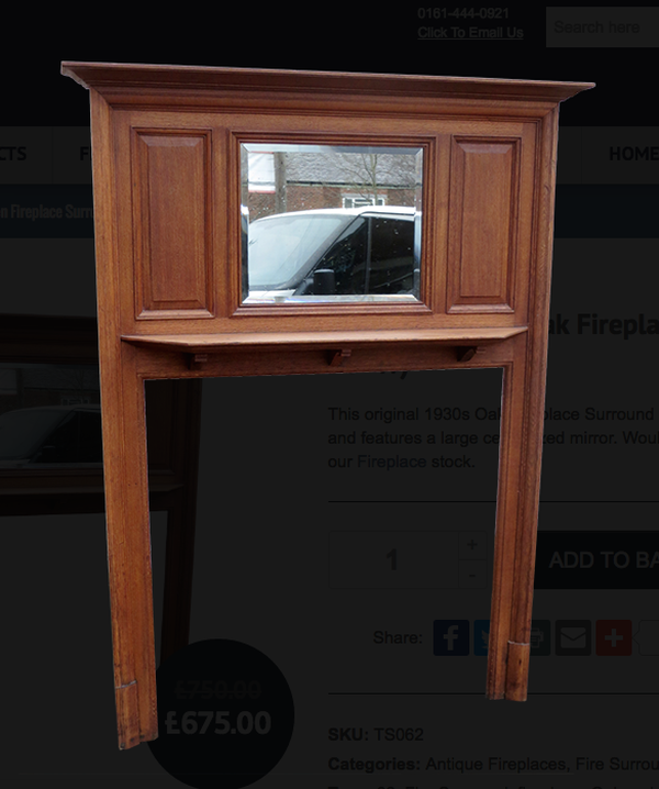 TS062 – 1930s Oak Fireplace Surround (66.5?H X 46?W)