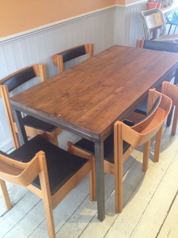 Reclaimed timber industrial style dining table