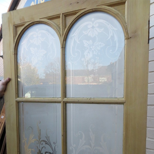 UD003 - Unrestored Original Arched Acid Etched Glass Exterior Door
