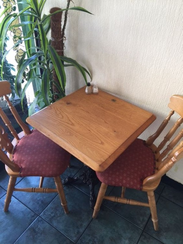Square cafe table with chairs