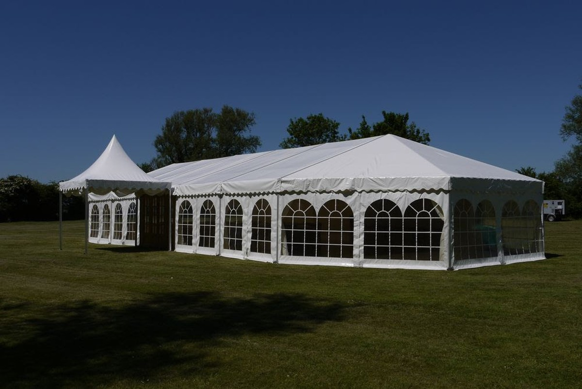9m Bell-End Conversion Kit - Custom Covers 3-Sided ... & Curlew - SecondHand Marquees | Extension Bays and Complete Frames ...