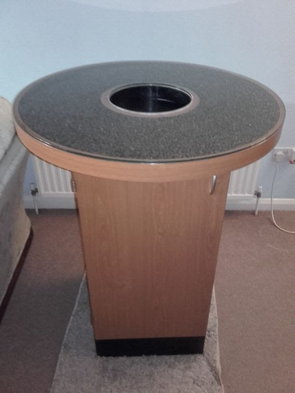 Unique Coffee Posing Table with Bin Insert