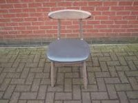 Dining Chair with Grey Leather Seat Pad