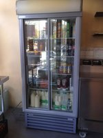 Glass fronted upright fridge