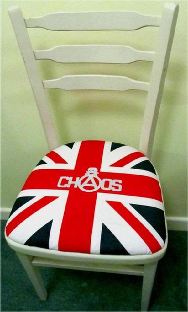 White chair with union flag