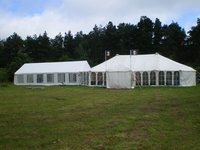 White Clear Span Marquee With Linked  Walkway