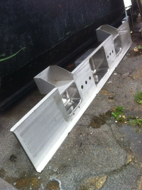 Huge Commercial Stainless Steel Triple Bowl Sink Top