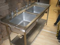 Long Stainless Steel Double Basin Sink Unit