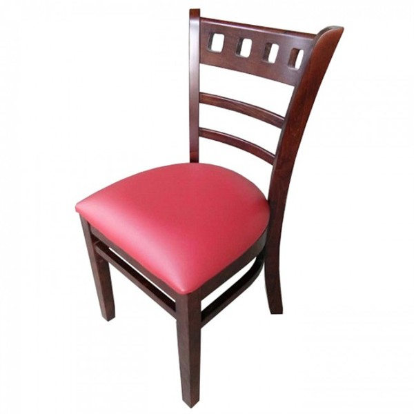 Red Enzo Walnut Restaurant Dining Chairs