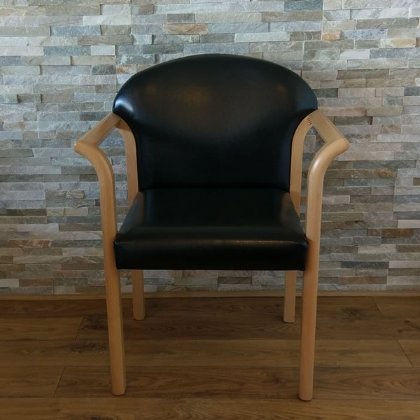 Re-upholstered Solid Wood Arm Chair