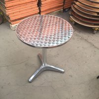 Aluminium Lightweight Chrome Bistro Table Patio Garden Outdoor