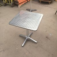 Aluminium Patio Table Square Chrome Outdoor