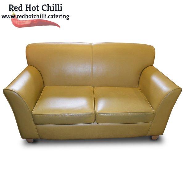 Mustard Yellow Leather Sofa (Ref: RHC1943) - Warrington, Cheshire