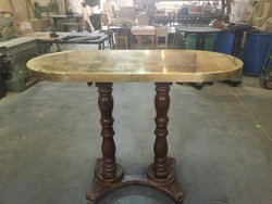 Brass Top Double Pedestal Poseur Table