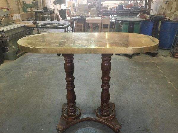 Brass Top Double Pedestal Poseur Table