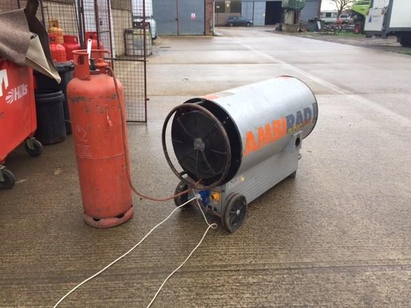 Ambirad Tornado 600 Indirect Propane Heater with heat ducting