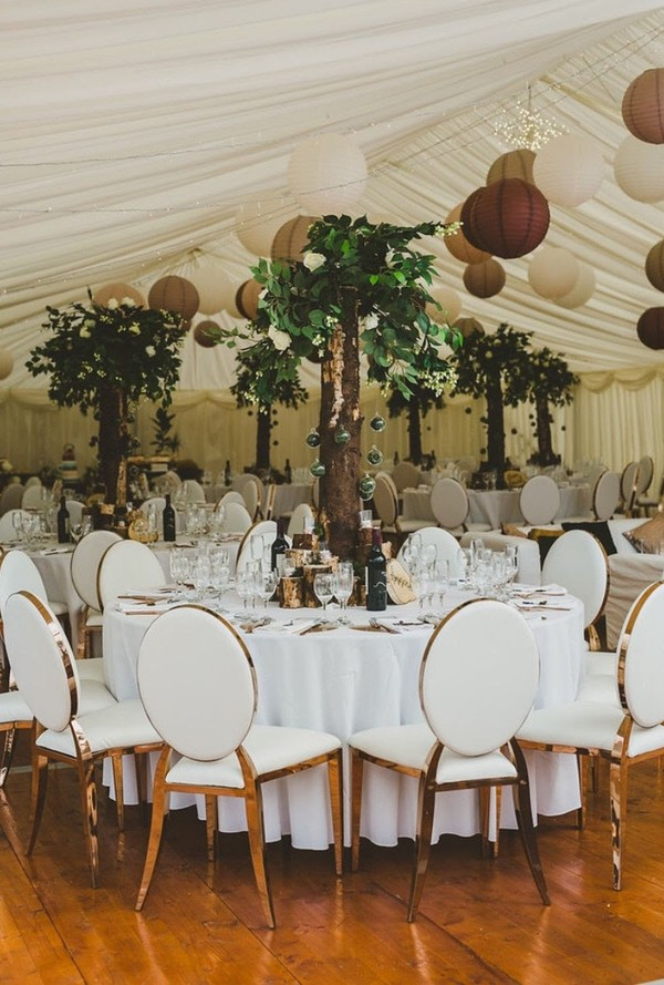 Large Wooden / Silk Foliage Tree Centre Pieces