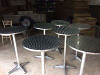 7 x Aluminium Poseur Tables