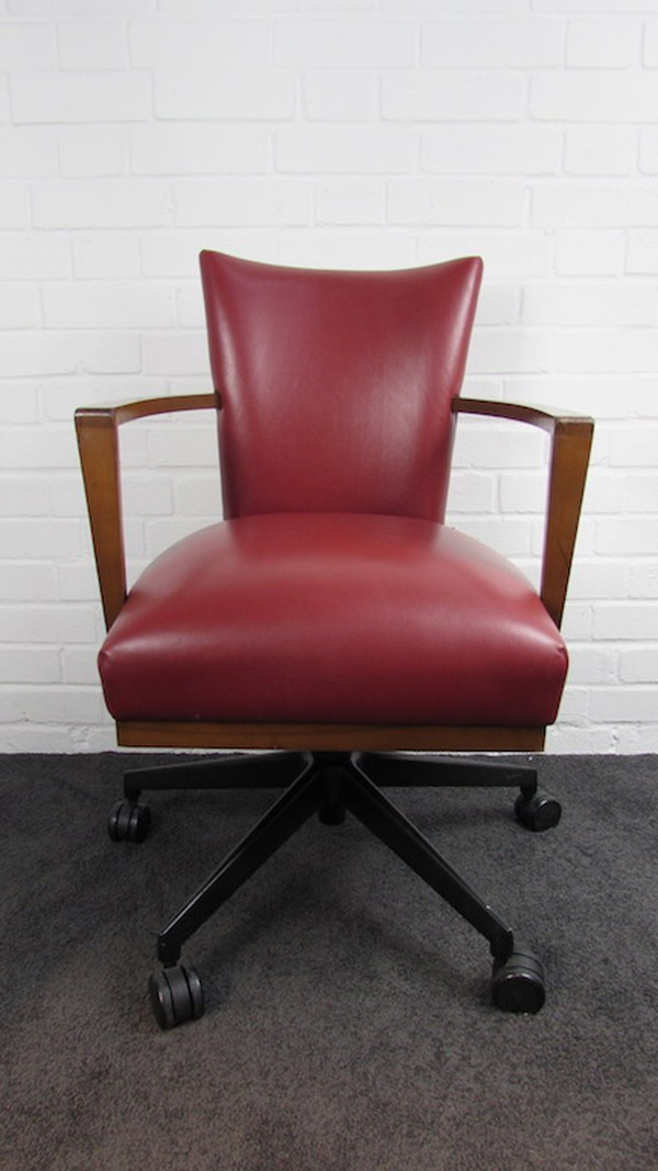 Red Leather Morgan Office Swivel Chairs
