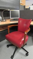 Red Leather Morgan Swivel Chairs x 10