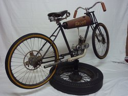 1920s French Motorcycle and Vintage Wheel Stand