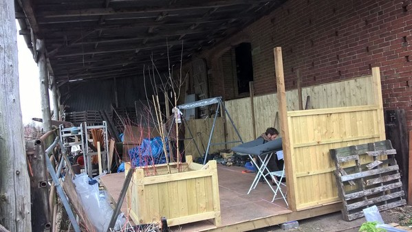 Stand being built
