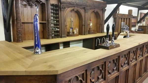 Solid Oak Vintage Bar and Back Bar
