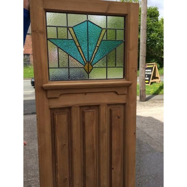 1930 Edwardian Stained Glass Exterior Door - Blue Art Deco